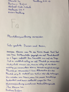 Brief von Kindern an Lieferanten zum Thema Verpackungsmüll